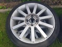 "17"" inch fiesta ST alloy wheels with nearly new tyres and locking nuts"