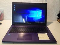 Asus purple laptop /screen 15.6/ win10/ hard 500/very slim /hdmi