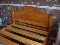 Double pine bed 4ft 6ins