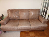 Sofas for sale. A pair of DFS distressed leather sofas. Beige. South Croydon. Collection only.