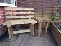 1500mm TIMBER BENCH with BACK / delivered / oiled in Natural Oak