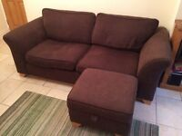 3 Seat Sofa and Footstool. Brown fabric. DFS sofa. Great condition