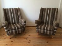 Retro Tweed Wing Back Armchairs Vintage 2 available