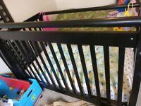 Wooden Convertible Crib + Mattress