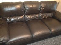 Black 3 seater leather sofa/couch