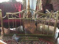Brass bed head. Standard double bed with all fittings.