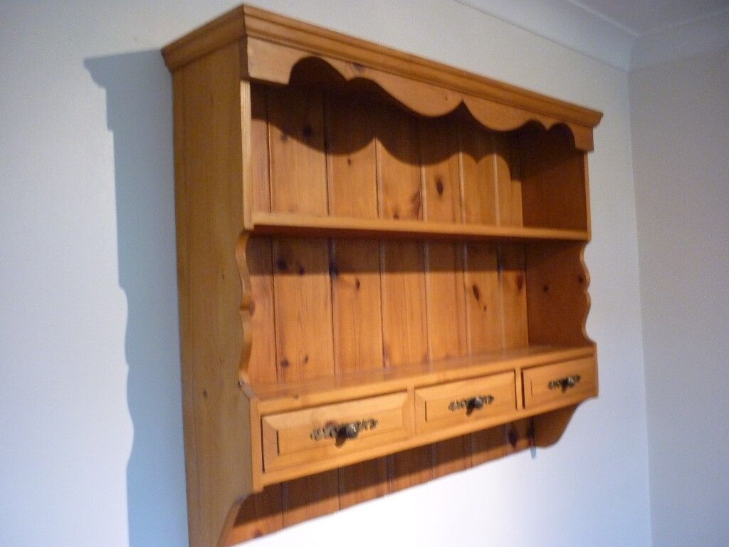 Pine Wall Dresser Kitchen Plate Rack Shelving Drawers Excellent Upcycle Project