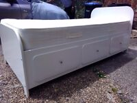 John Lewis Light Cream Single Wooden Bed with Storage Drawers & Mattress - VGC