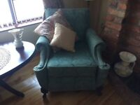 Antique suite. Green colour. Very solid and heavy. His and hers armchairs