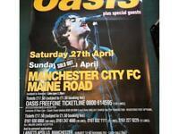Liam Gallagher oasis knebworth poster 1996 original or Liam or Noel ,Man City poster