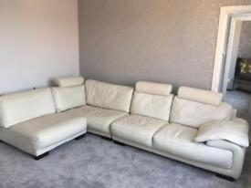 DFS cream leather corner sofa with footstool