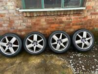 """Saab/ Vauxhall 17"""" alloys 5 stud with tyres and nuts"""