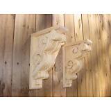 PAIR of Victorian Design Wood Corbels Shelf Mantle Brackets  8 x 11-1/2 (#6108)