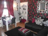 2 bed furnished flat Brechin, shared garden, free parking, double glazed, gas central htg £450 pcm