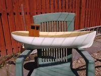 Fishing Boat Hull Kit, 800mm Long Fibre-glass Hull, Deck & Wheelhouse