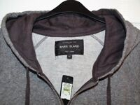 river island grey hoody size xl new with tags