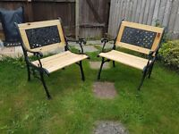 cast iron / wood garden patio chairs