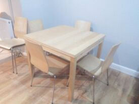 "Ikea ""BJURSTA"" oak veneer extending dining table and 6 chairs"