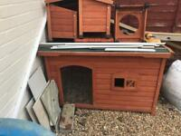 Dog kennel and two storage boxes dog bowl and sun deck