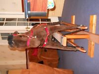 Large Rocking Horse, leather saddle, reins & styrups in need of new home for Christmas
