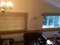 Two 6-ft immaculate brown/gold roman blinds (could be used for fabric) NR2 £50