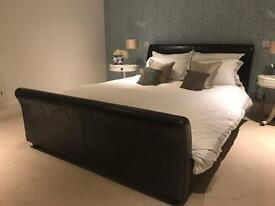 SOLD King Size Leather Sleigh Bed