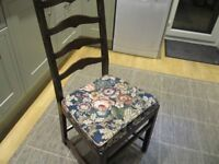 4 X SOLID ERCOL DINING CHAIRS WITH ERCOL SEAT PADS