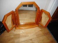 pine tripple dressing table tilt mirror