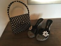 Moda in Pelle wedge black and white sandals size 38 (I am usually a 5) and small bag