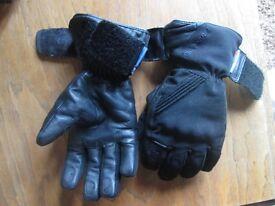 Black leather padded Motorbike gloves - Frank Thomas - Small