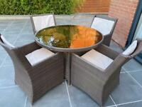 Rattan garden dining table & 4 chairs