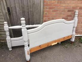 Grey painted pine bed double collection only £30