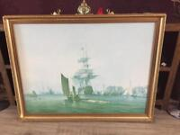Large Vintage Ship Picture Print Painting