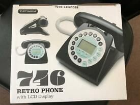 Unopened, unused retro phone with LCD display