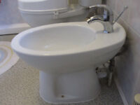 White Ceramic Bidet complete with chrome mixer tap and pop-up waste - £15