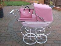 pink silver cross dolls pram and bag