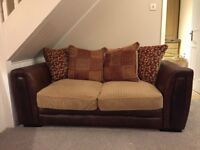 Leather /Fabric Double Sofa Bed 182 X 90 cms - Very Little Use