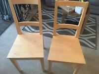 2x ikea wooden chairs