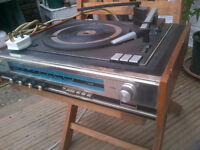 Philips 4 Speed record turntable deck & Reciever/Amp