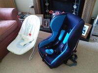 White mothercare cot, britax car seat, 2 stairgates, bath,bouncer all good condition.
