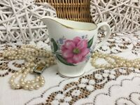 REDUCED Vintage Diamond China Made in England Beautiful rose 22k gold Creamer