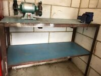 Steel workbench with vice and grinder