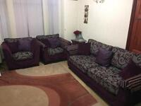3 Seater Sofa + 2x Single Seater Sofa + 2x Curtains. Beautiful Matching Design. Pillows included.