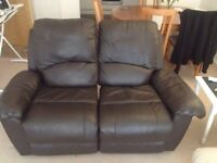 Leather Sofa (Brown) Medium size, with one reclinable seat - Available for collection from 25th June