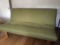Lovely Solid Oak 3 seater sofa bed with cushions by Futon Company! High quality, contemporary