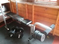 Weight lifting bench and dumbbell weights set