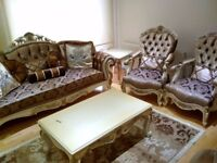 Excellent Condition Hand Made Sofas Coffee Table Chairs Set