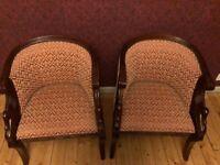 Two Mahogany Swan Tub Chairs