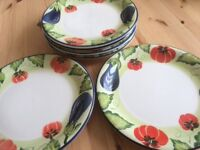 Hand painted plates and pasta bowls