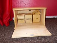 Wooden Bread Bin/Box and 3 Small Jars/Boxes For Tea,Coffee and Sugar